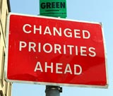 Red sign: Changed Priorities Ahead